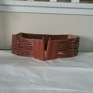 Woven Leather Belt With Elastic Back